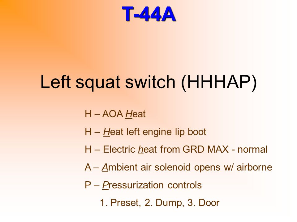 T-44A Left squat switch (HHHAP) H – AOA Heat H – Heat left engine lip boot H – Electric heat from GRD MAX - normal A – Ambient air solenoid opens w/ a