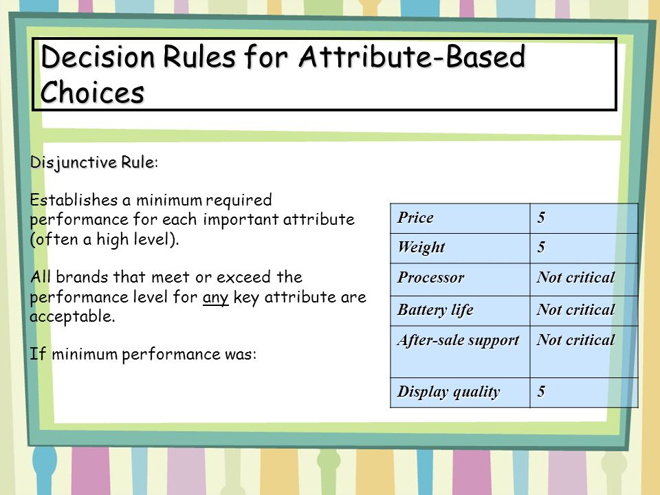 Decision Rules for Attribute-Based Choices Disjunctive Rule Disjunctive Rule: Establishes a minimum required performance for each important attribute (often a high level).