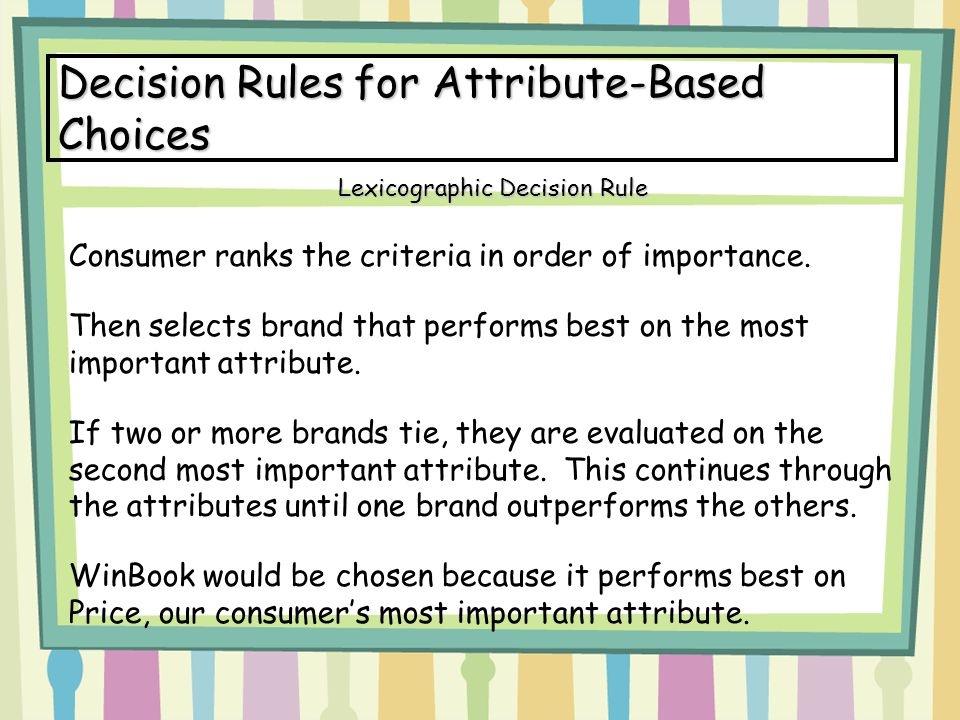 Decision Rules for Attribute-Based Choices Consumer ranks the criteria in order of importance.