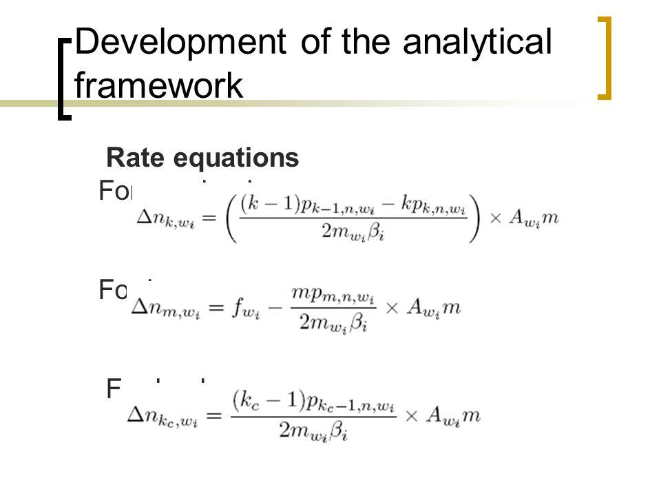 Rate equations For m < k < kc For k = m For k = kc Development of the analytical framework