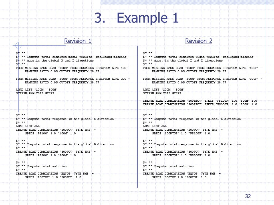 3.Example 1 Revision 1Revision 2 $* ** $* ** Compute total combined modal results, including missing $* ** mass,in the global X and Z directions $* **