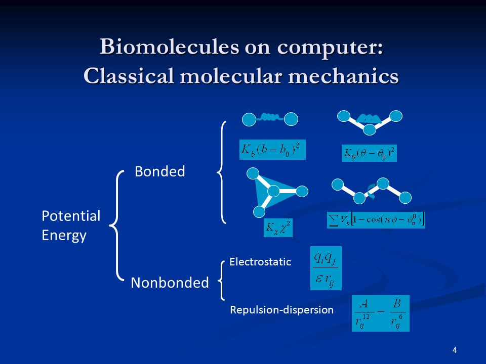 4 Biomolecules on computer: Classical molecular mechanics Bonded Electrostatic Repulsion-dispersion Nonbonded Potential Energy