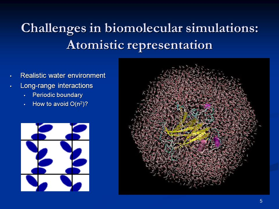 5 Challenges in biomolecular simulations: Atomistic representation Realistic water environment Realistic water environment Long-range interactions Lon