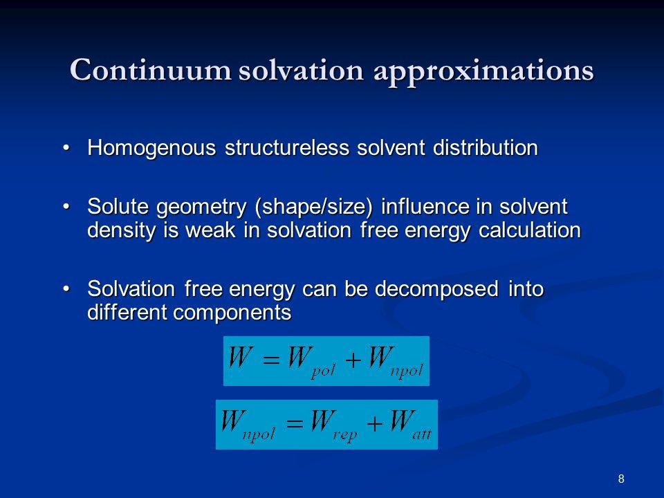 19 Fitting Quality: Nonpolar repulsive free energies (A)SES CC: 0.997 RMSD: 0.30kcal/mol RMS Rel Dev: 0.026 (B) SEV CC: 0.985.