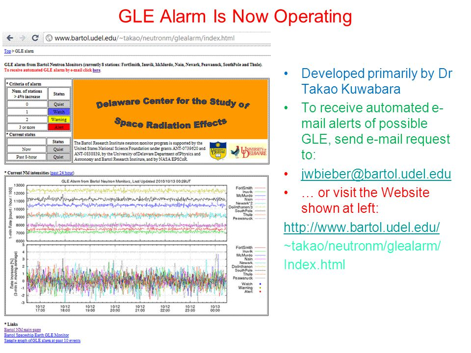 GLE Alarm Is Now Operating Developed primarily by Dr Takao Kuwabara To receive automated e- mail alerts of possible GLE, send e-mail request to: jwbieber@bartol.udel.edu … or visit the Website shown at left: http://www.bartol.udel.edu/ ~takao/neutronm/glealarm/ Index.html