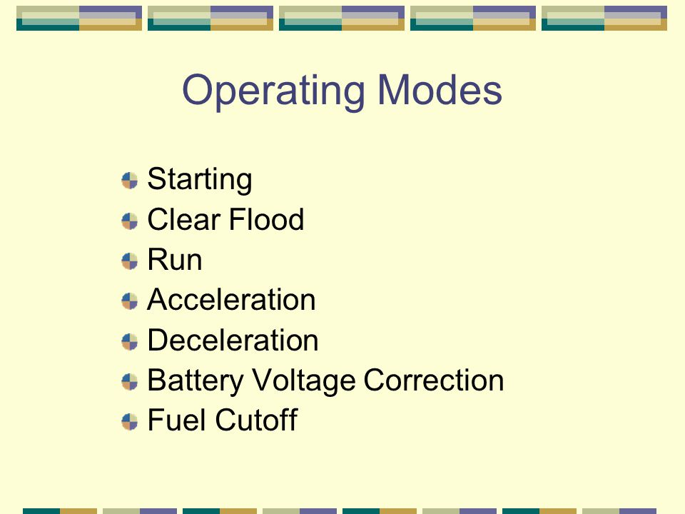 Operating Modes Starting Clear Flood Run Acceleration Deceleration Battery Voltage Correction Fuel Cutoff