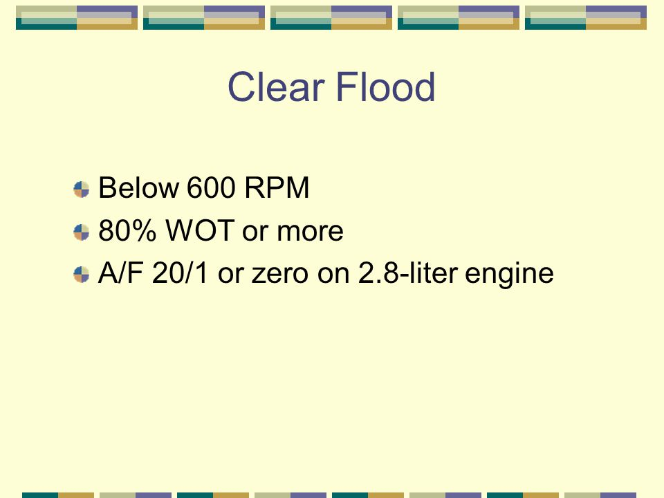 Clear Flood Below 600 RPM 80% WOT or more A/F 20/1 or zero on 2.8-liter engine