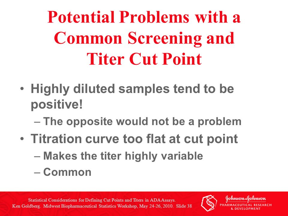 Potential Problems with a Common Screening and Titer Cut Point Highly diluted samples tend to be positive! –The opposite would not be a problem Titrat