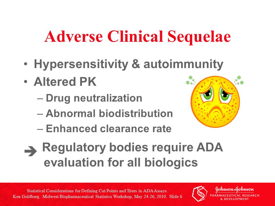 Adverse Clinical Sequelae Hypersensitivity & autoimmunity Altered PK –Drug neutralization –Abnormal biodistribution –Enhanced clearance rate  Regulat