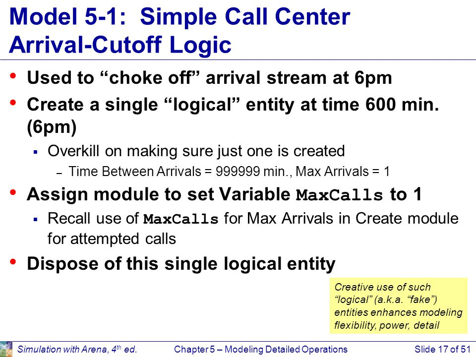 """Simulation with Arena, 4 th ed.Chapter 5 – Modeling Detailed OperationsSlide 17 of 51 Model 5-1: Simple Call Center Arrival-Cutoff Logic Used to """"chok"""