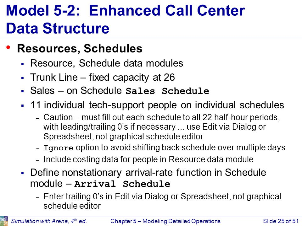 Simulation with Arena, 4 th ed.Chapter 5 – Modeling Detailed OperationsSlide 25 of 51 Model 5-2: Enhanced Call Center Data Structure Resources, Schedu