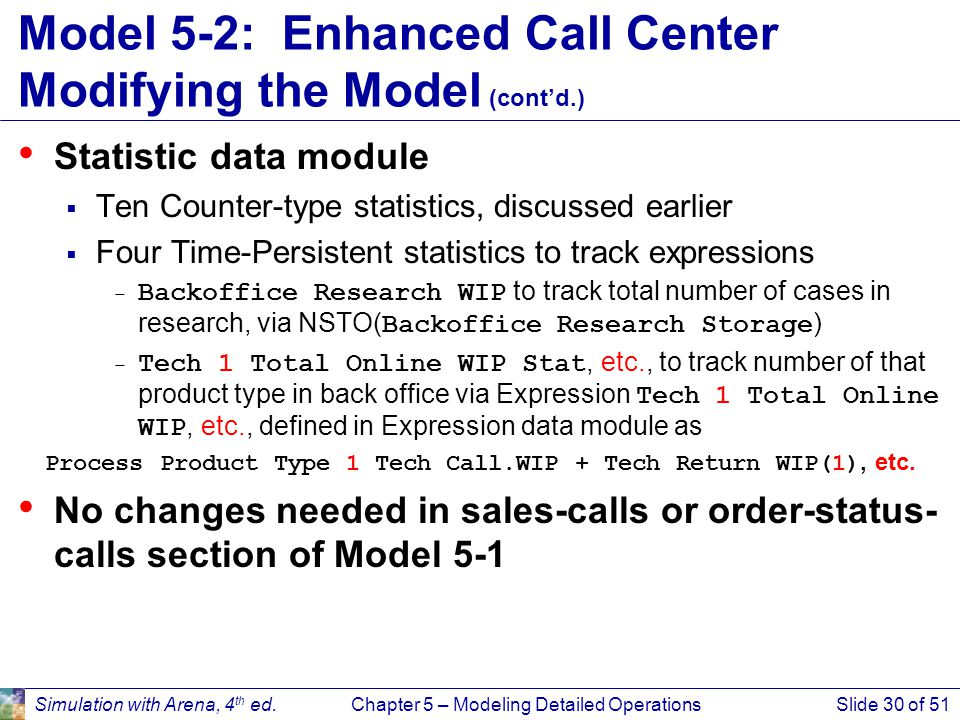 Simulation with Arena, 4 th ed.Chapter 5 – Modeling Detailed OperationsSlide 30 of 51 Model 5-2: Enhanced Call Center Modifying the Model (cont'd.) St