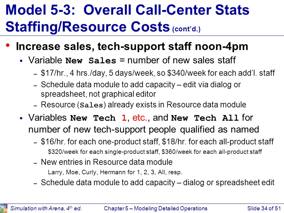 Simulation with Arena, 4 th ed.Chapter 5 – Modeling Detailed OperationsSlide 34 of 51 Model 5-3: Overall Call-Center Stats Staffing/Resource Costs (co