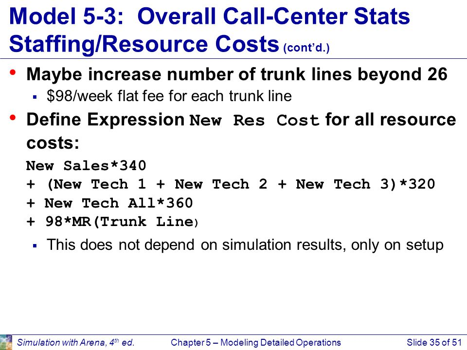 Simulation with Arena, 4 th ed.Chapter 5 – Modeling Detailed OperationsSlide 35 of 51 Model 5-3: Overall Call-Center Stats Staffing/Resource Costs (co