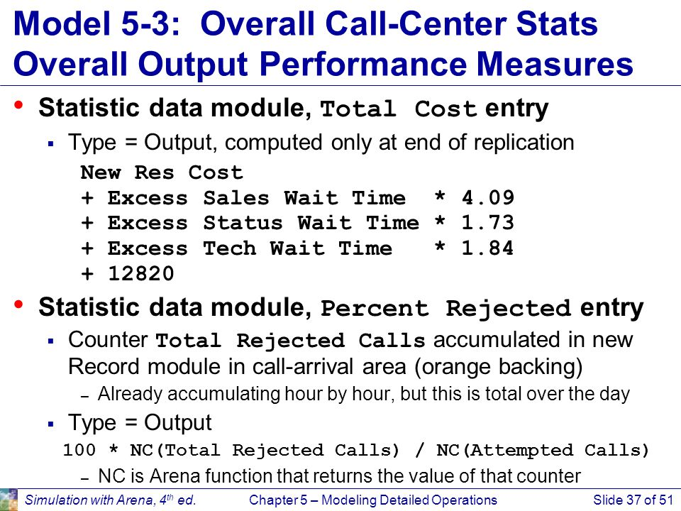 Simulation with Arena, 4 th ed.Chapter 5 – Modeling Detailed OperationsSlide 37 of 51 Model 5-3: Overall Call-Center Stats Overall Output Performance