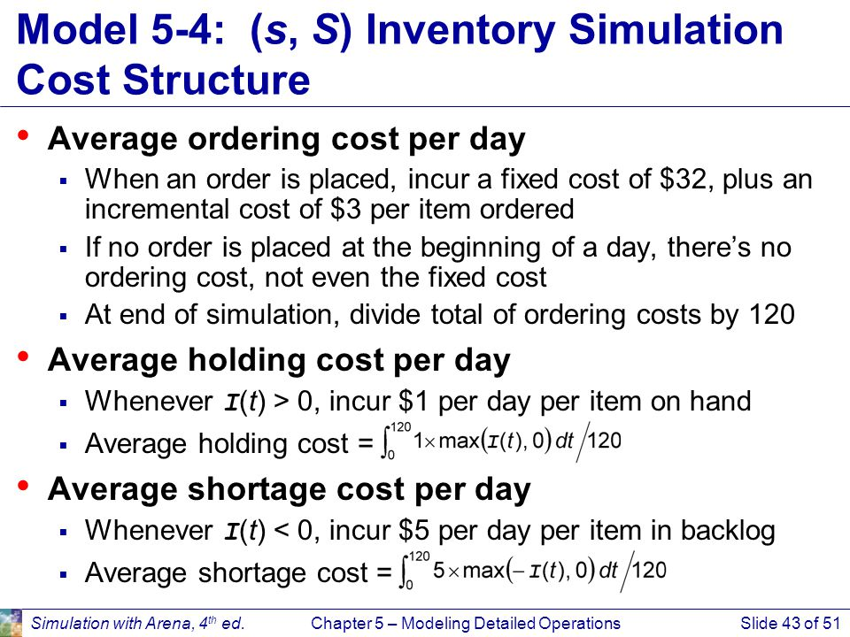 Simulation with Arena, 4 th ed.Chapter 5 – Modeling Detailed OperationsSlide 43 of 51 Model 5-4: (s, S) Inventory Simulation Cost Structure Average or