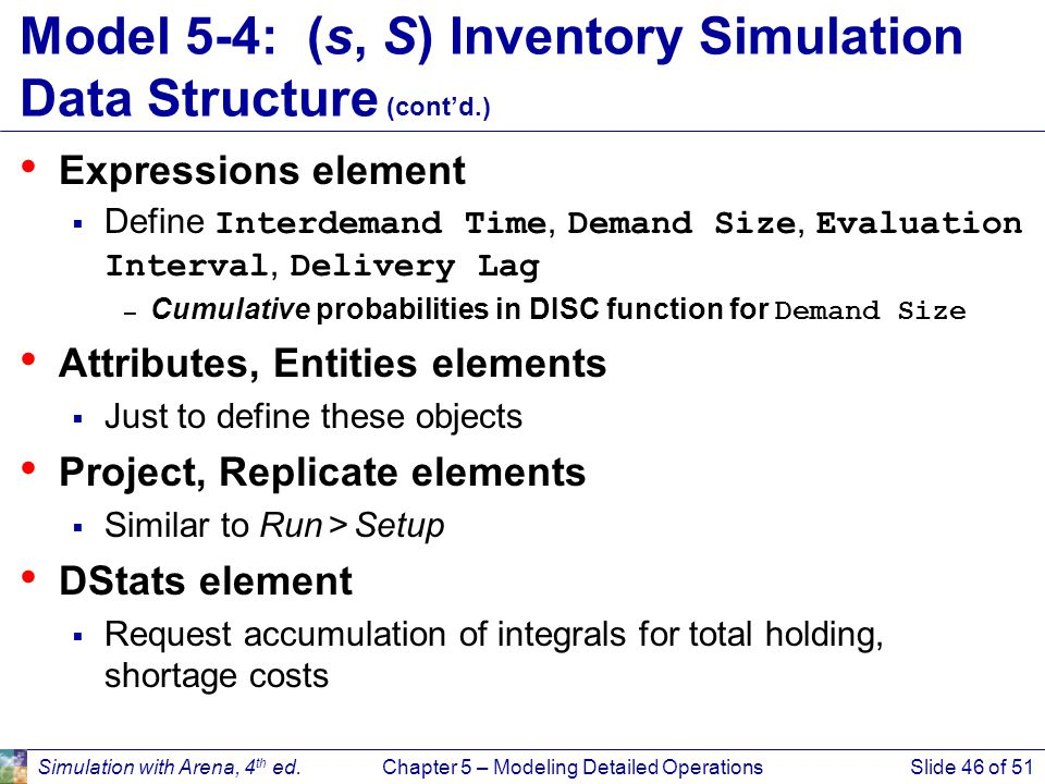 Simulation with Arena, 4 th ed.Chapter 5 – Modeling Detailed OperationsSlide 46 of 51 Model 5-4: (s, S) Inventory Simulation Data Structure (cont'd.)