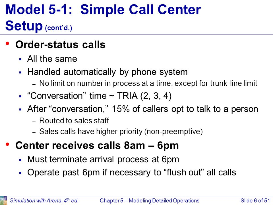 Simulation with Arena, 4 th ed.Chapter 5 – Modeling Detailed OperationsSlide 6 of 51 Model 5-1: Simple Call Center Setup (cont'd.) Order-status calls