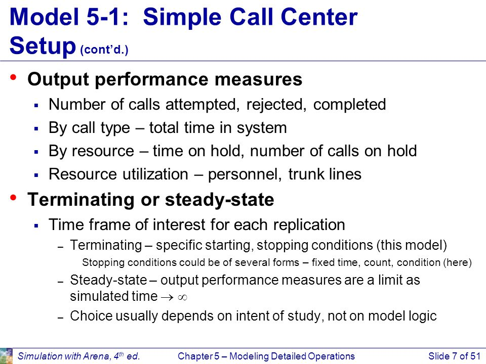 Simulation with Arena, 4 th ed.Chapter 5 – Modeling Detailed OperationsSlide 7 of 51 Model 5-1: Simple Call Center Setup (cont'd.) Output performance