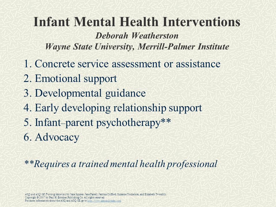 Infant Mental Health Interventions Deborah Weatherston Wayne State University, Merrill-Palmer Institute 1.