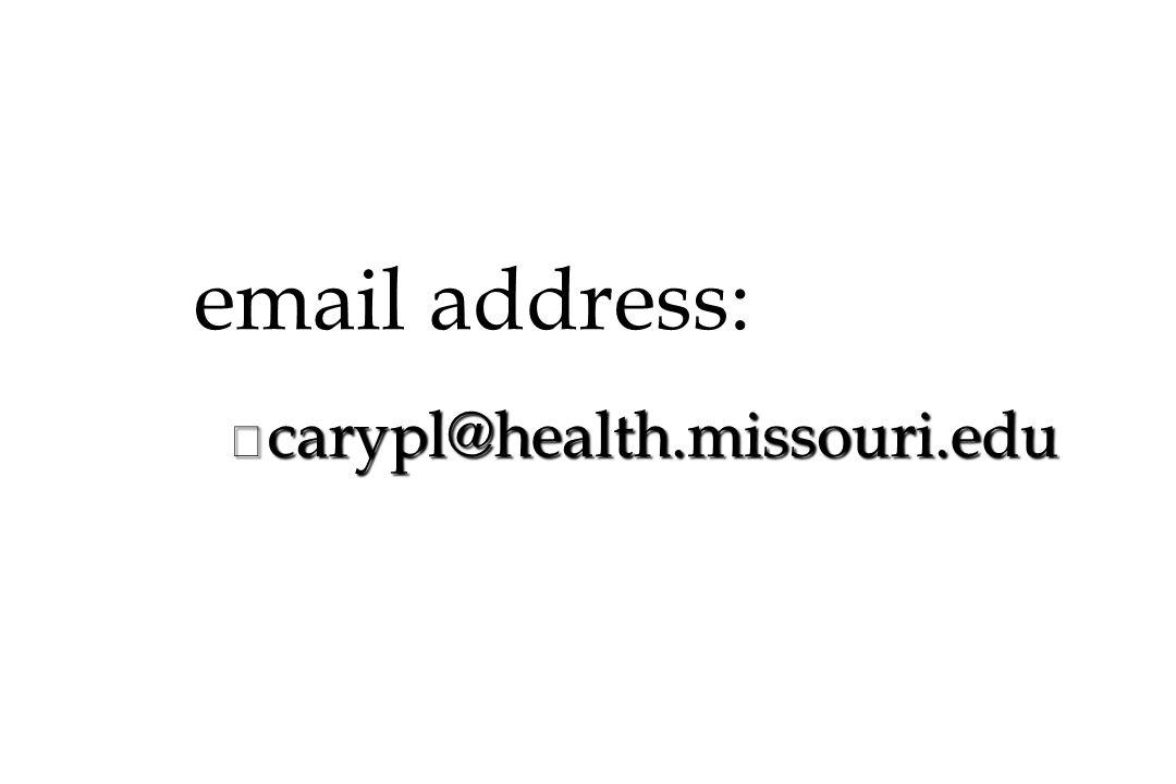 email address: n carypl@health.missouri.edu