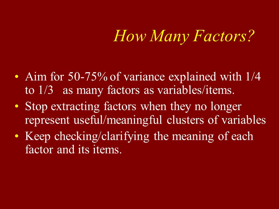 How Many Factors.