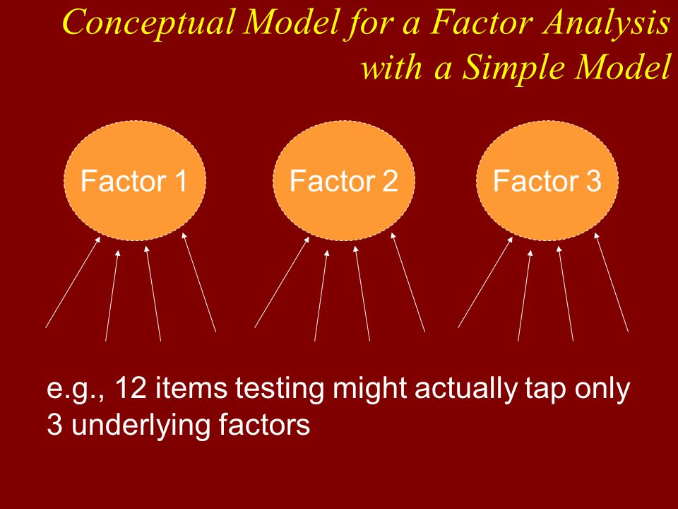 Factor 1Factor 2Factor 3 e.g., 12 items testing might actually tap only 3 underlying factors Conceptual Model for a Factor Analysis with a Simple Model