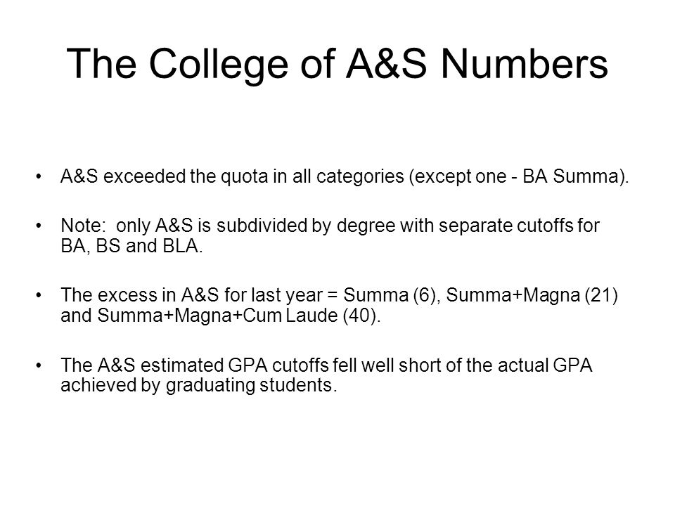 The College of A&S Numbers A&S exceeded the quota in all categories (except one - BA Summa).