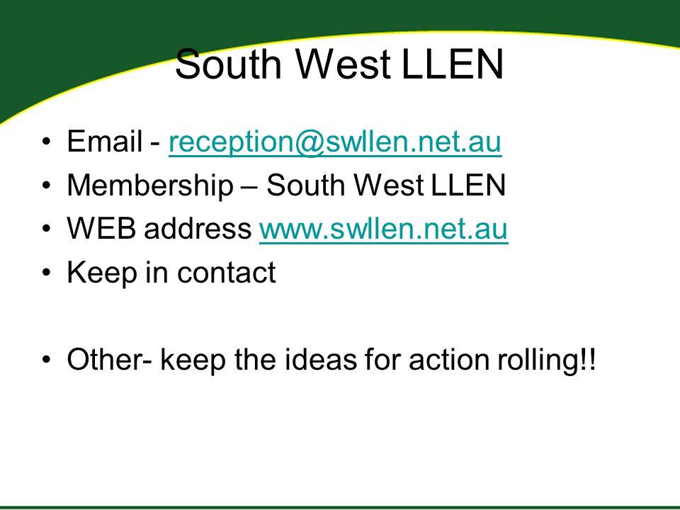 South West LLEN Email - reception@swllen.net.aureception@swllen.net.au Membership – South West LLEN WEB address www.swllen.net.auwww.swllen.net.au Kee