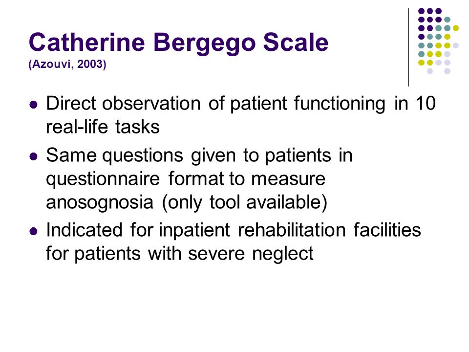 catherine bergego scale test