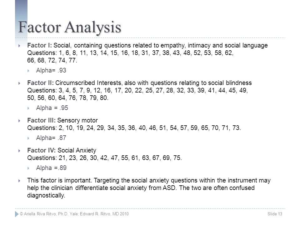 © Ariella Riva Ritvo, Ph.D. Yale; Edward R. Ritvo, MD 2010 Slide 13 Factor Analysis  Factor I: Social, containing questions related to empathy, intim