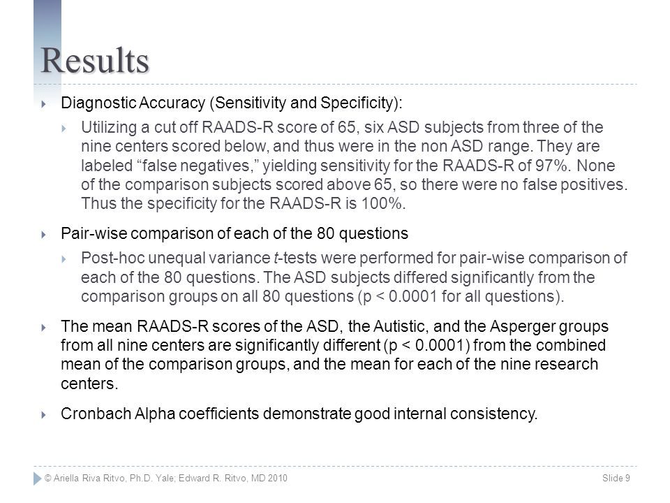 © Ariella Riva Ritvo, Ph.D. Yale; Edward R. Ritvo, MD 2010 Slide 9 Results  Diagnostic Accuracy (Sensitivity and Specificity):  Utilizing a cut off