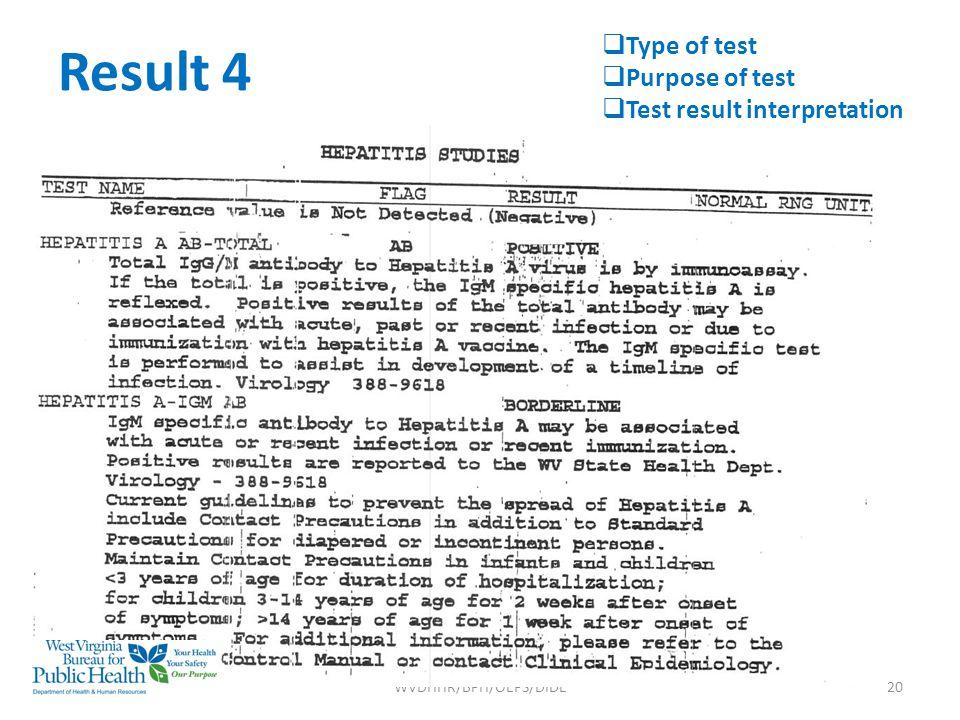Result 4 WVDHHR/BPH/OEPS/DIDE20  Type of test  Purpose of test  Test result interpretation