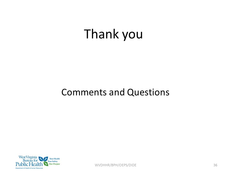 Thank you Comments and Questions WVDHHR/BPH/OEPS/DIDE36