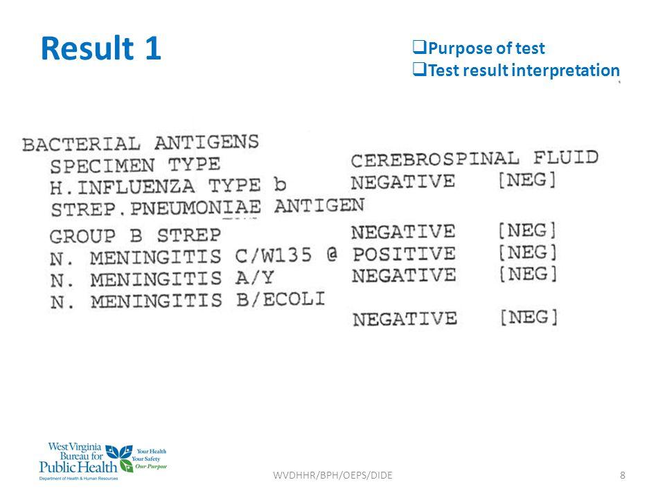 Result 1 WVDHHR/BPH/OEPS/DIDE8  Purpose of test  Test result interpretation