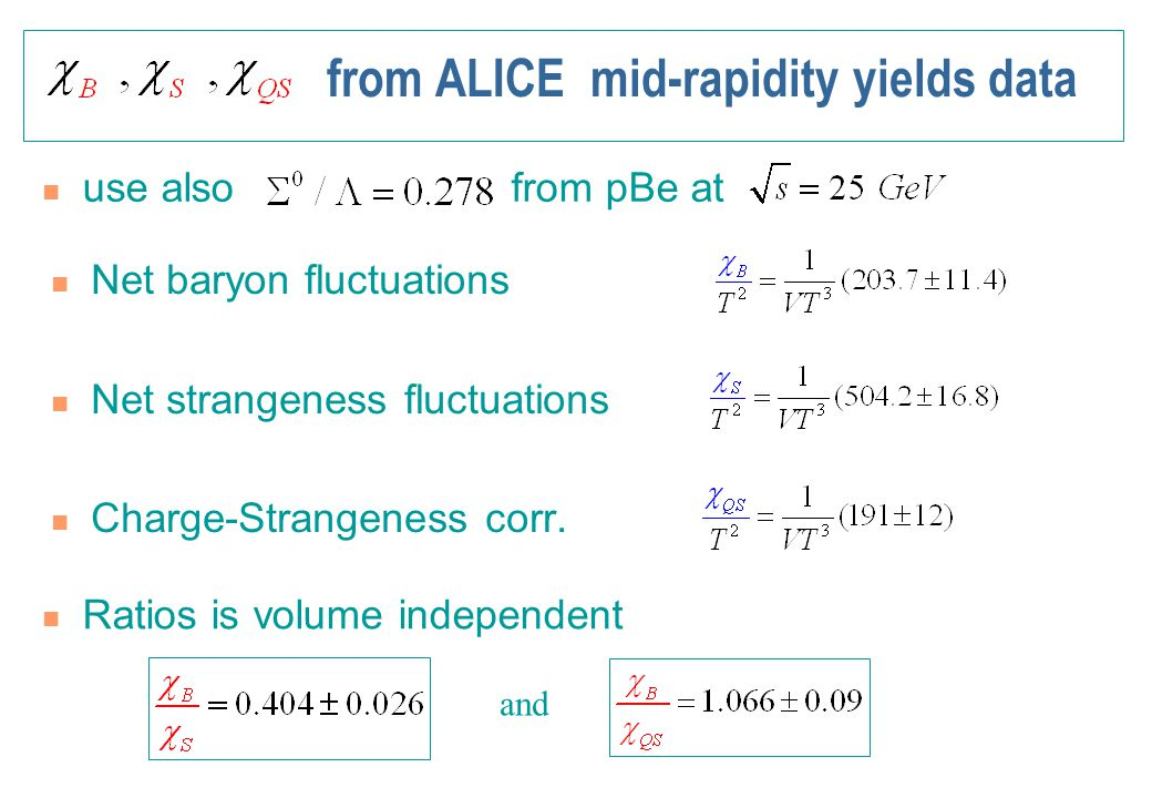 from ALICE mid-rapidity yields data use also from pBe at Net baryon fluctuations Net strangeness fluctuations Charge-Strangeness corr. Ratios is volum