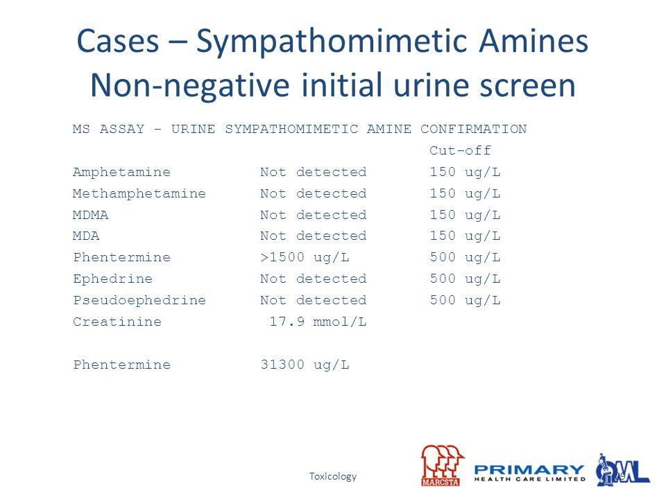 Toxicology Cases – Sympathomimetic Amines Non-negative initial urine screen MS ASSAY - URINE SYMPATHOMIMETIC AMINE CONFIRMATION Cut-off Amphetamine No