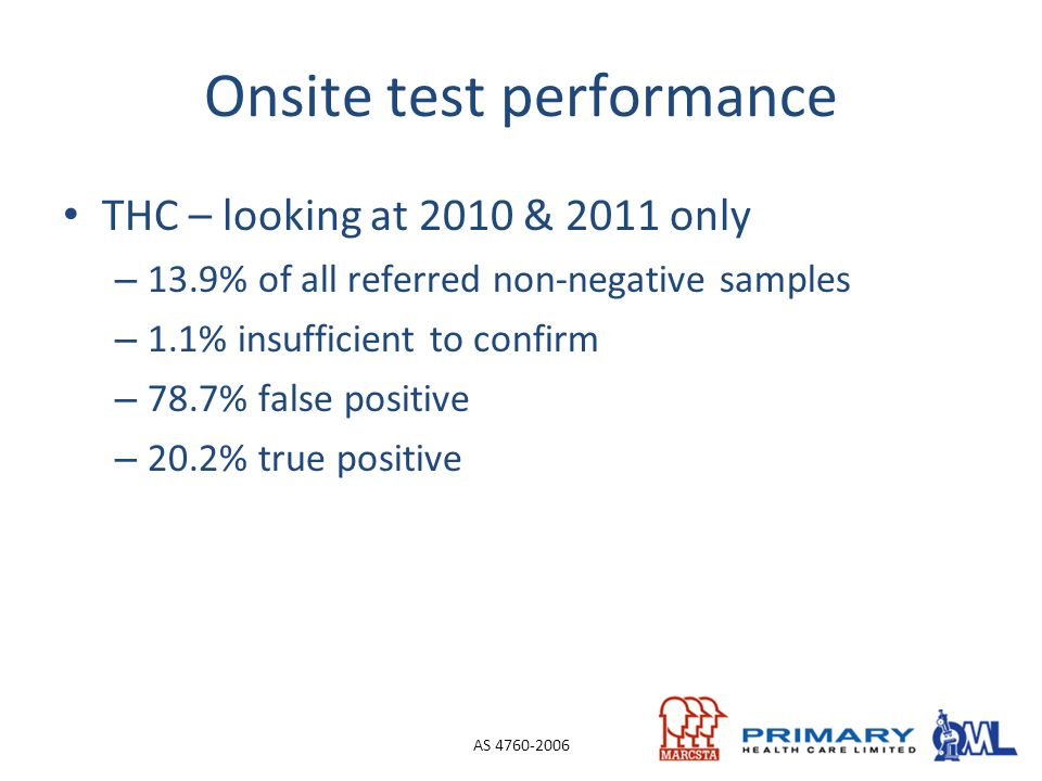 Onsite test performance THC – looking at 2010 & 2011 only – 13.9% of all referred non-negative samples – 1.1% insufficient to confirm – 78.7% false po