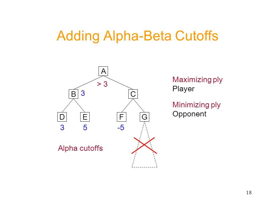 18 Adding Alpha-Beta Cutoffs A CB ED 35-5 FG 3 > 3 Maximizing ply Player Minimizing ply Opponent Alpha cutoffs