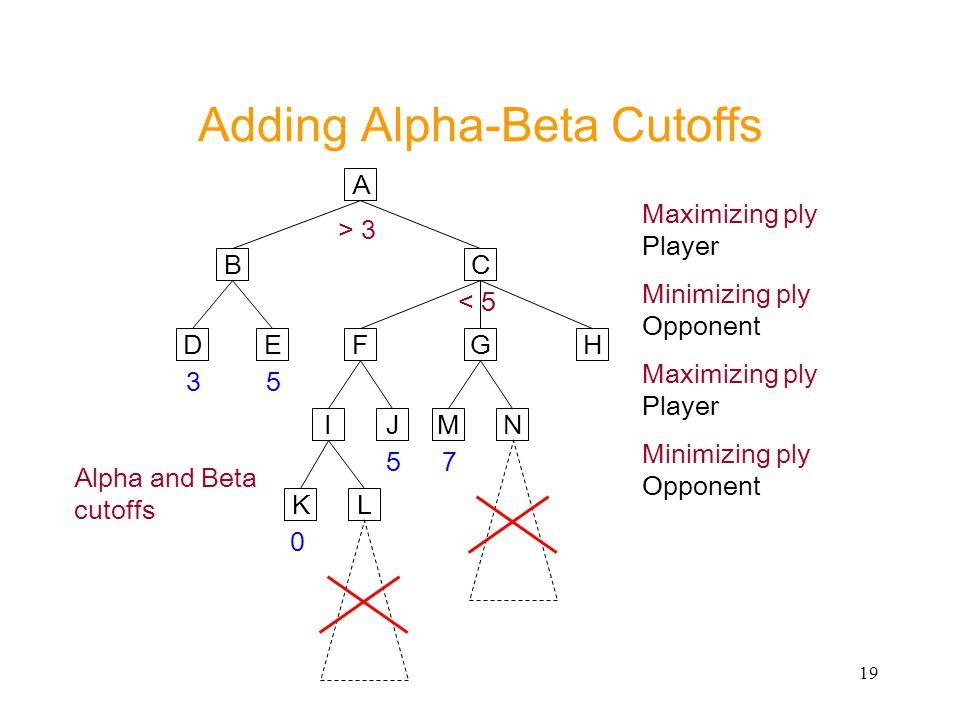 19 Adding Alpha-Beta Cutoffs A CB ED 35 > 3 FG Maximizing ply Player Minimizing ply Opponent Alpha and Beta cutoffs H JI 5 NM LK 0 < 5 7 Maximizing pl