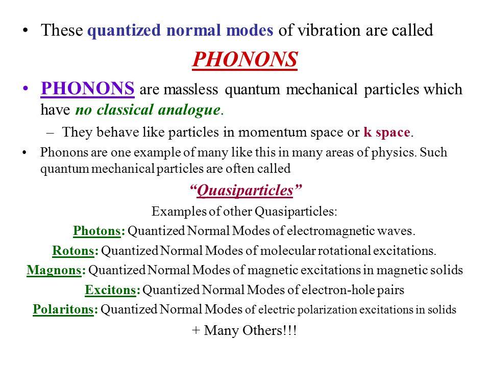 PHONONS Quantized normal modes of lattice vibrations.