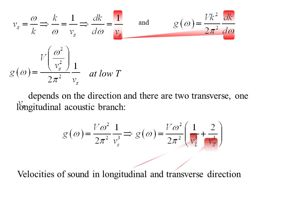 depends on the direction and there are two transverse, one longitudinal acoustic branch: and at low T Velocities of sound in longitudinal and transver