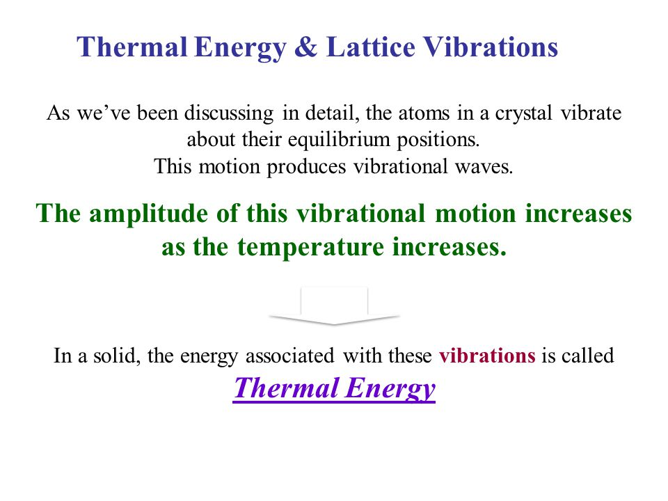 Thermal Energy & Lattice Vibrations As we've been discussing in detail, the atoms in a crystal vibrate about their equilibrium positions. This motion
