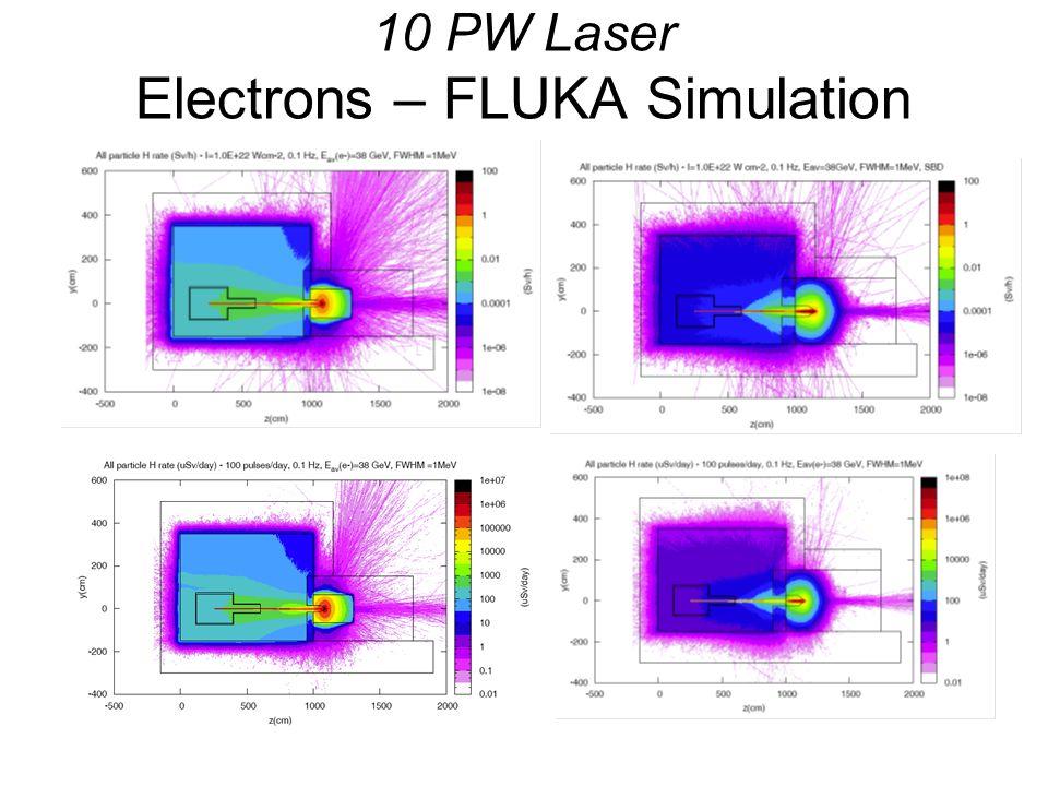 10 PW Laser Electrons – FLUKA Simulation