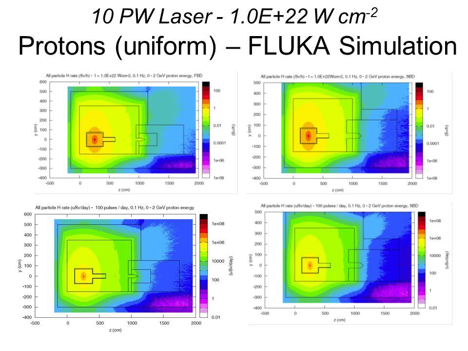 10 PW Laser - 1.0E+22 W cm -2 Protons (uniform) – FLUKA Simulation