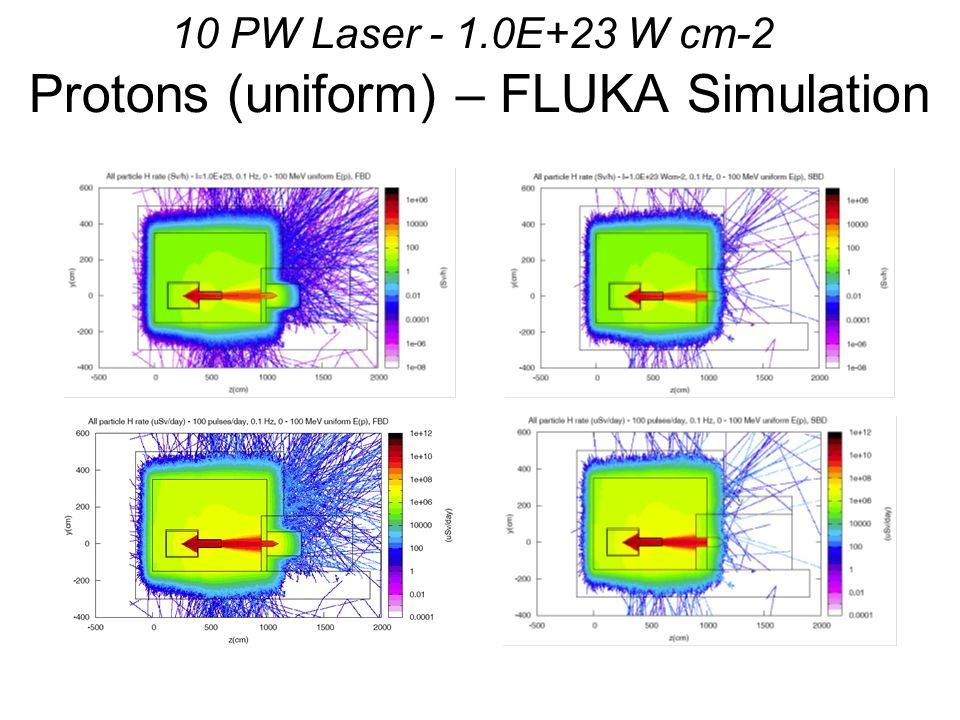 10 PW Laser - 1.0E+23 W cm-2 Protons (uniform) – FLUKA Simulation