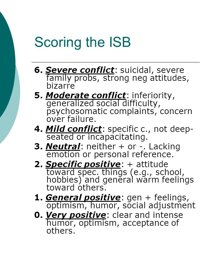Scoring the ISB 6. Severe conflict: suicidal, severe family probs, strong neg attitudes, bizarre 5.