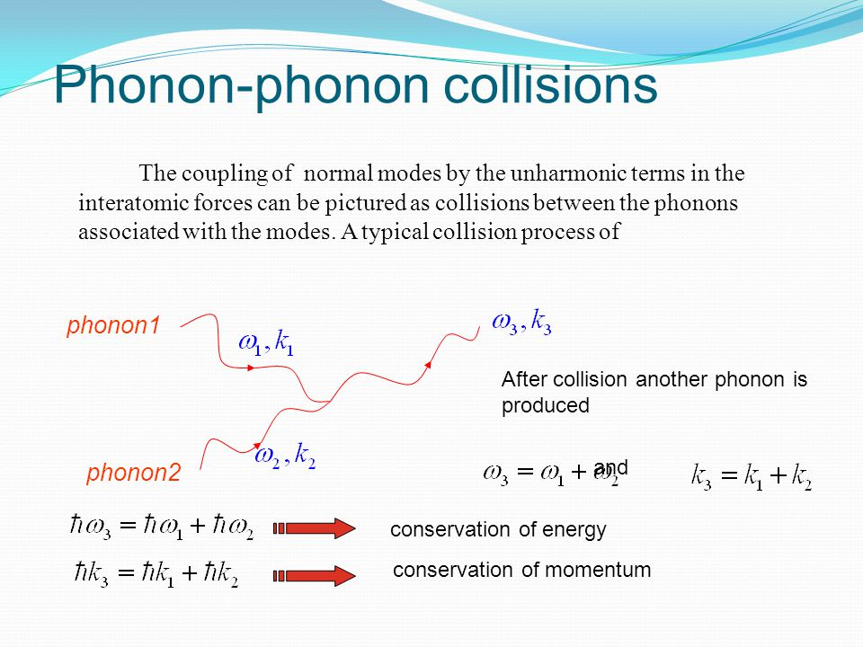 Phonon-phonon collisions The coupling of normal modes by the unharmonic terms in the interatomic forces can be pictured as collisions between the phon