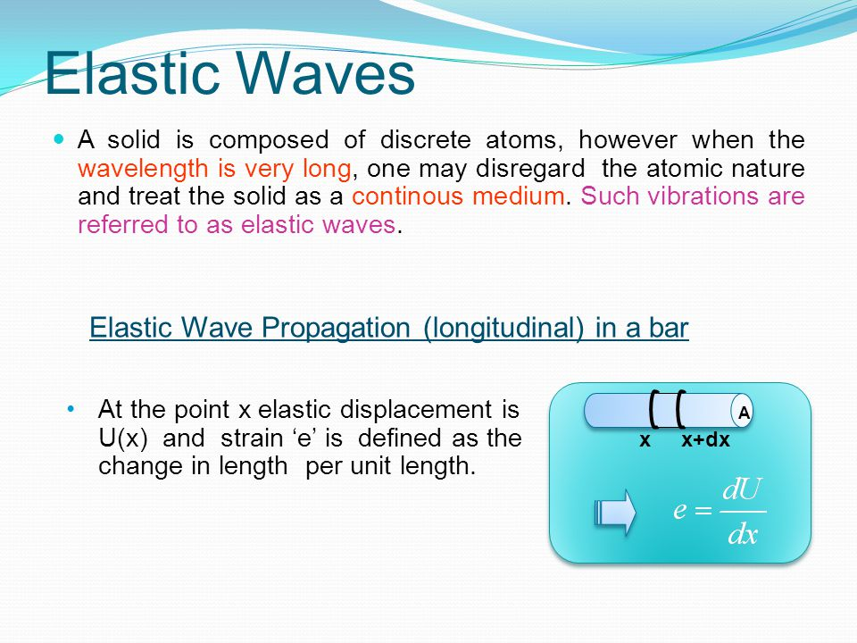 Elastic Waves A solid is composed of discrete atoms, however when the wavelength is very long, one may disregard the atomic nature and treat the solid