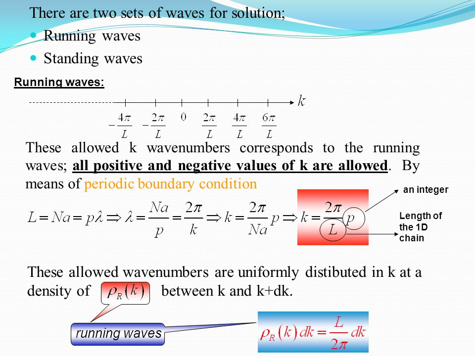 There are two sets of waves for solution; Running waves Standing waves These allowed k wavenumbers corresponds to the running waves; all positive and